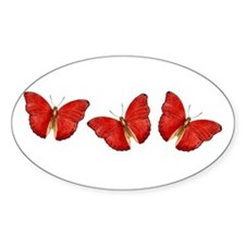 Red Butterfly Oval Decal