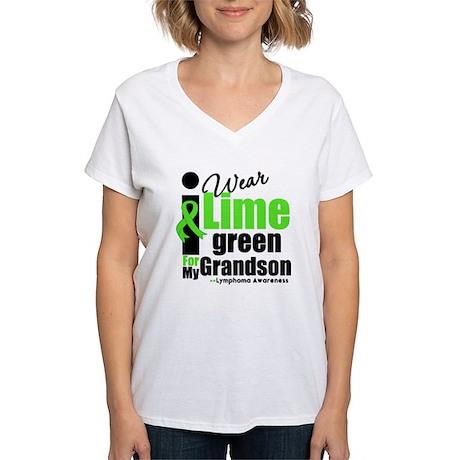 I Wear Lime Green For Grandson Women's V-Neck T-Sh