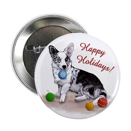 Cardigan Welsh Corgi Holiday Button