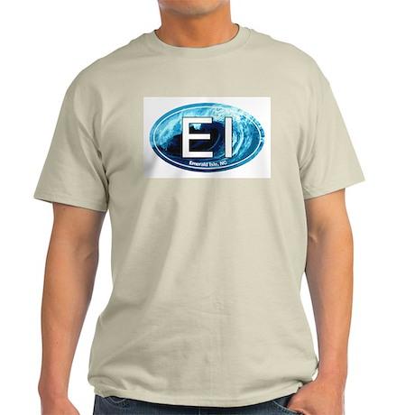 EI Emerald Isle, NC Beach Oval Light T-Shirt