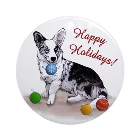 Cardigan Welsh Corgi Holiday Ornament (Round)