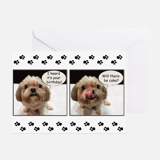 ShihTzu Cake Birthday Greeting Card