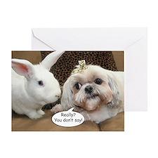 Bunny and Shih Tzu Birthday Greeting Card