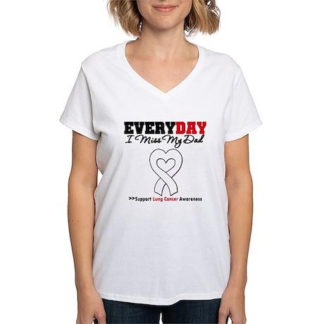LungCancer MissMyDad Women's V-Neck T-Shirt