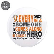 """HERO Comes Along 1 Daddy LEUKEMIA 3.5"""" Button (10"""
