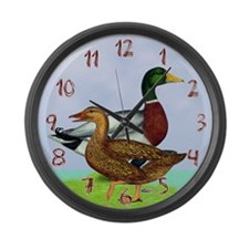 Mallard Ducks Large Wall Clock