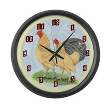 Blue Buff OE Game Bantams Large Wall Clock