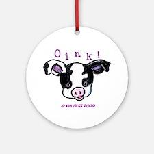 Black & White Pig Ornament (Round)