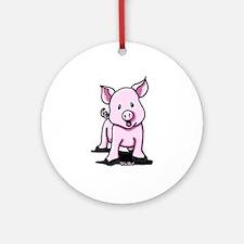 Chatty Pig Ornament (Round)