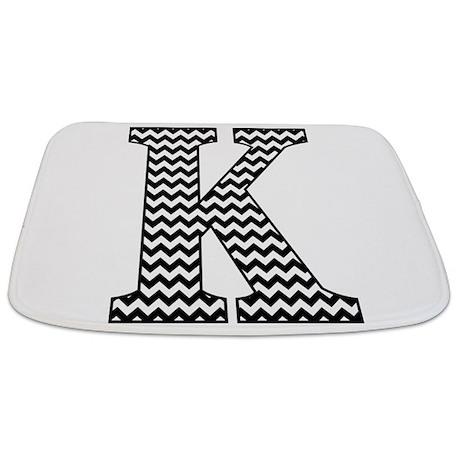 Black and White Chevron Letter K Monogram Bathmat