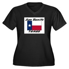 San Benito Texas Women's Plus Size V-Neck Dark T-S
