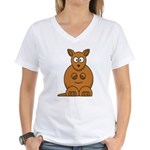 Cartoon Kangaroo Women's V-Neck T-Shirt