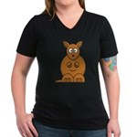 Cartoon Kangaroo Women's V-Neck Dark T-Shirt