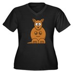 Cartoon Kangaroo Women's Plus Size V-Neck Dark T-S