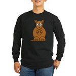 Cartoon Kangaroo Long Sleeve Dark T-Shirt