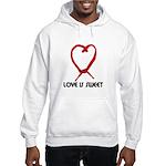 LOVE IS SWEET (LICORICE HEART) Hooded Sweatshirt