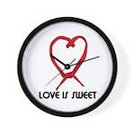 LOVE IS SWEET (LICORICE HEART) Wall Clock
