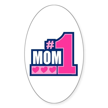 #1 Mom Oval Sticker