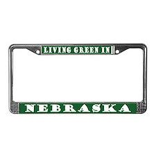 Green Living Nebraska License Plate Frame