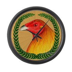 Wreath Gamecock Large Wall Clock