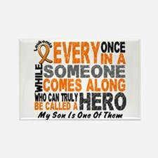 HERO Comes Along 1 Son LEUKEMIA Rectangle Magnet