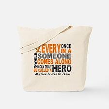HERO Comes Along 1 Son LEUKEMIA Tote Bag