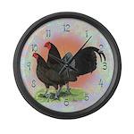 Chocolate OE Game Bantams Large Wall Clock