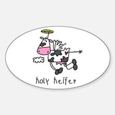 Holy Heifer Oval Decal