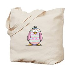 Pink Easter Egg Penguin Tote Bag