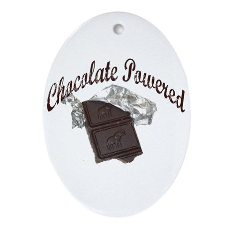 Chocolate Powered Oval Ornament
