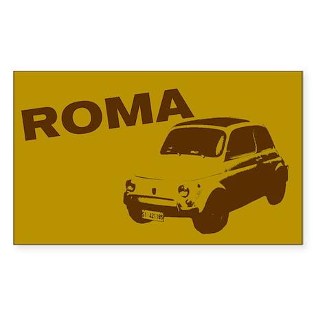 Stickers! Roma - Fiat 500 - gold (Rectangular)