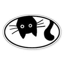 Upside-Down Cat Oval Bumper Stickers