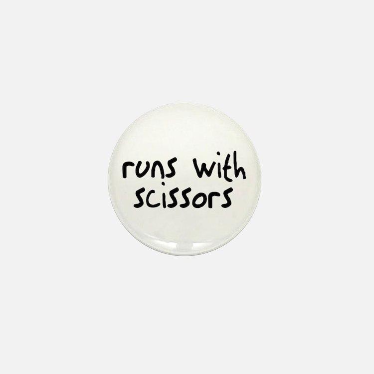 Runs Scissors Mini Button