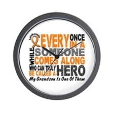 HERO Comes Along 1 Grandson LEUKEMIA Wall Clock