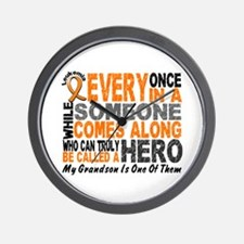 HERO Comes Along 1 Grandson LEUKEMIA Wall Clock