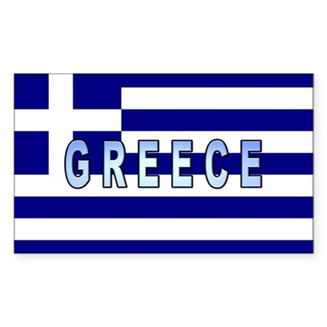 Greece Flag Labeled Rectangle Sticker