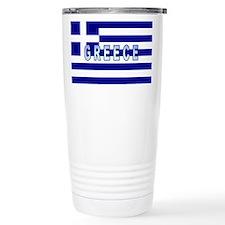 Greece Flag Labeled Travel Coffee Mug