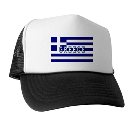 Greece Flag Labeled Trucker Hat