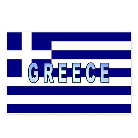 Greece Flag Labeled Postcards (Package of 8)