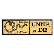 Unite or Die! Bumper Bumper Sticker