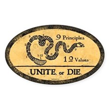 Unite or Die! Oval Decal