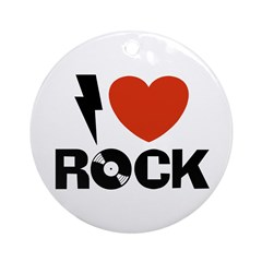 I Love Rock Ornament (Round)