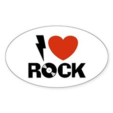 I Love Rock Oval Decal