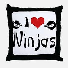I heart Ninjas Throw Pillow