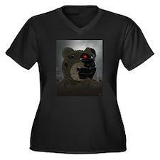 Bearinator Women's Plus Size V-Neck Dark T-Shirt