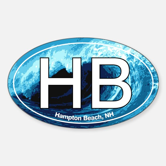 HB Hampton Beach, NH Wave Oval Oval Decal