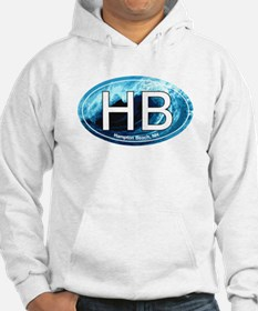HB Hampton Beach, NH Wave Oval Hoodie