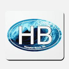 HB Hampton Beach, NH Wave Oval Mousepad