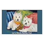 WESTIE LET A WESTIE RESCUE YOU! Sticker (Rectangle