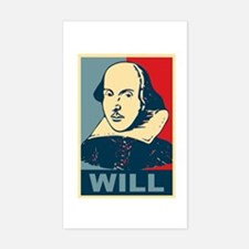 Pop Art William Shakespeare Sticker (Rectangle)